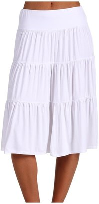 Three Dots Tea Length Tiered Skirt (White) - Apparel