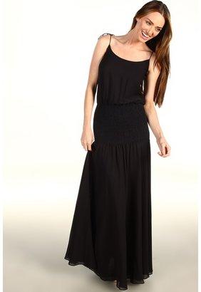 Halston Tie Strap Blouson Smocked Gown (Black) - Apparel