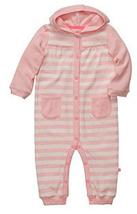 Carter's Baby Girls' Pink Striped Hooded Romper