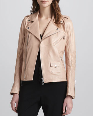 McQ by Alexander McQueen Zip-Front Leather Moto Jacket, Blush