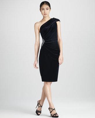 David Meister Ruched One-Shoulder Cocktail Dress