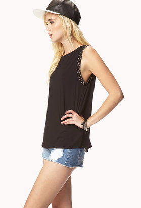 Forever 21 Contemporary Studded Trim Muscle Tee