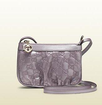 Gucci Lilac Metallic Guccissima Leather Cosmetic Case