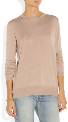 Miu Miu Lace-trimmed cashmere and silk-blend sweater