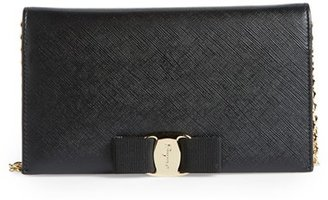 Women's Salavatore Ferragamo 'Miss Vara' Leather Wallet On A Chain - Black $760 thestylecure.com