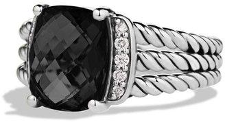 David Yurman Petite Wheaton Ring with Black Onyx and Diamonds