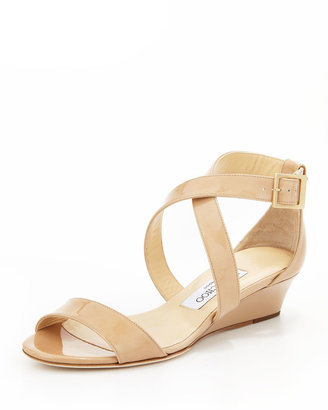 Jimmy Choo Chiara Demi-Wedge Crisscross Sandal, Nude