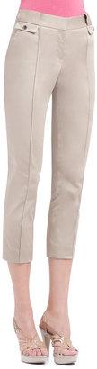 AK Anne Klein Cotton Sateen Pin tuck Slim Pant
