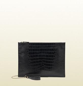 Gucci Black Crocodile Portfolio Case With Chain Detail