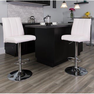 Lancaster Home 2PK Vinyl Adjustable Height Barstool with Panel Back and Chrome Base