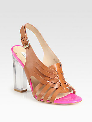 Diane von Furstenberg Taite Woven Leather Lucite Heel Sandals
