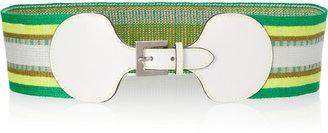 Missoni Leather-trimmed striped belt