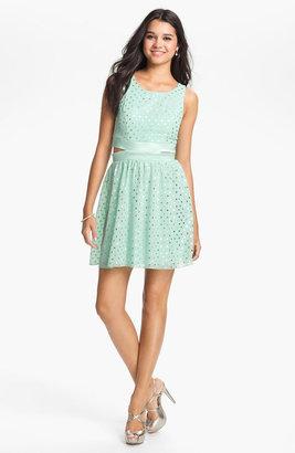 Trixxi Cutout Detail Polka Dot Dress (Juniors)