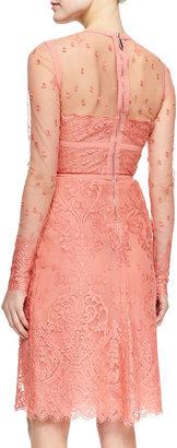 Elie Saab Sheer-Top Long-Sleeve Lace Dress
