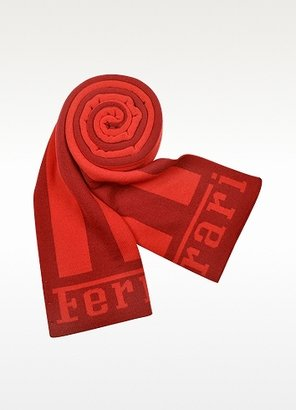 Ferrari Red Striped Signature Knit Wool Scarf