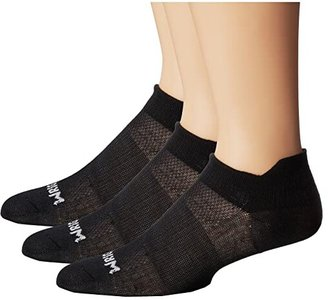 Wrightsock Coolmesh II Tab 3 Pack (Black) Low Cut Socks Shoes