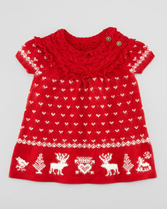 Ralph Lauren Short-Sleeve Reindeer Dress, Red, 3-9 Months