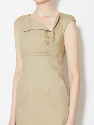 Stretch Cotton Asymmetrical Sheath Dress