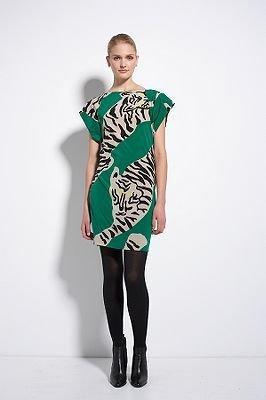 Diane von Furstenberg Asher Dress in Tigers Large Green