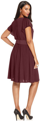 Amy Byer Plus Size Short-Sleeve Belted A-Line Dress