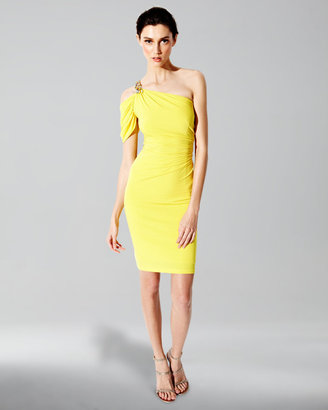 David Meister One-Shoulder Jersey Dress