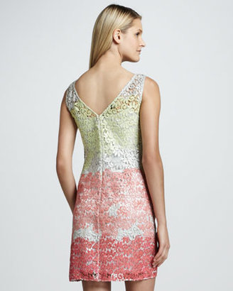Kay Unger New York Colorblock Metallic Lace Cocktail Dress