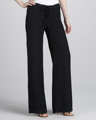 Vince Linen Beach Pants, Black
