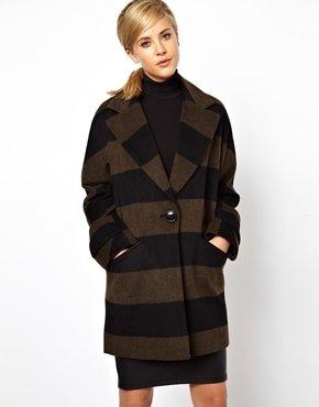 Asos Striped Ovoid Coat
