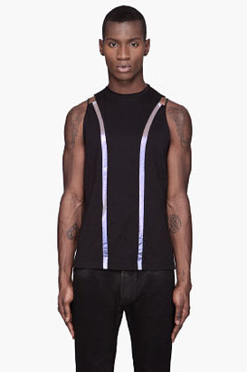 Thierry Mugler Black iridsecent blue striped tank top