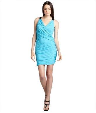 Cynthia Steffe blue atoll criss-crossed 'Harper' stretch jersey knit sheath dress