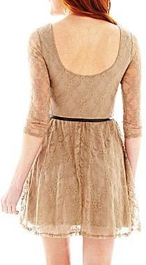 JCPenney Belted Long-Sleeve Dress