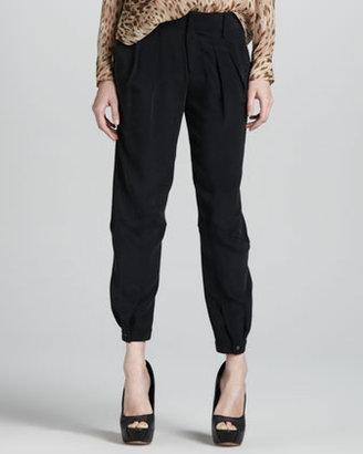 Haute Hippie Pleated Button-Cuff Pants