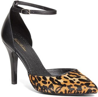 Haircalf Leopard Pumps with Ankle Strap $248 thestylecure.com