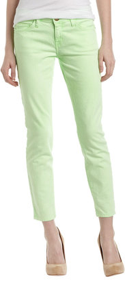 Current/Elliott Stiletto Cropped Jeans, Lime Green