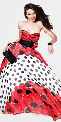 Faviana Red Polka Dot Ball Gown