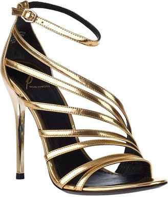 Brian Atwood Lesina Evening Sandal Gold Leather
