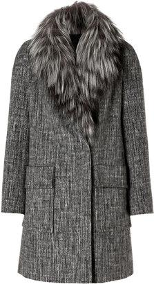 Paule Ka Tonal Grey Wool-Angora Coat with Removable Fox Fur Collar