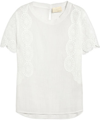 Band Of Outsiders Lace-trimmed cotton-cheesecloth top
