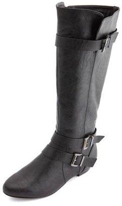 Charlotte Russe Triple Buckle Mini Heel Boot