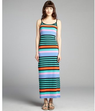 RD Style turquoise and orange striped cotton blend maxi dress
