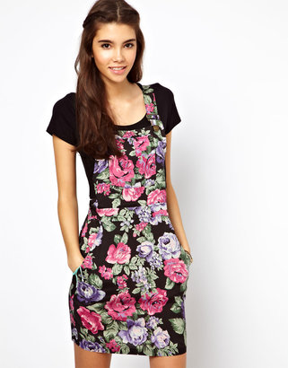 Asos Pinafore Dress In Floral Print
