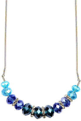Nine West Necklace, Silver-Tone Blue Bead Crystal Stone Collar Necklace