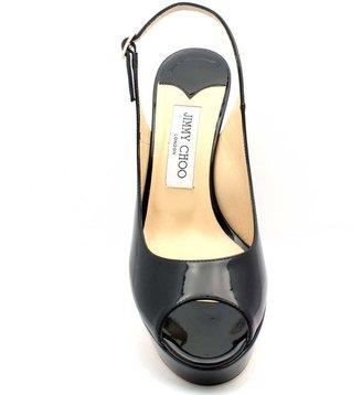 """Jimmy Choo Moon"""" Black Patent Leather Peep Toe Sling"""