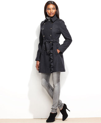 GUESS Coat, Wool-Blend Ruffled Belted Military