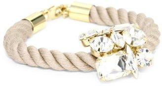 "Noir Jaipur"" Natural Brass Crystal Cord Bracelet"