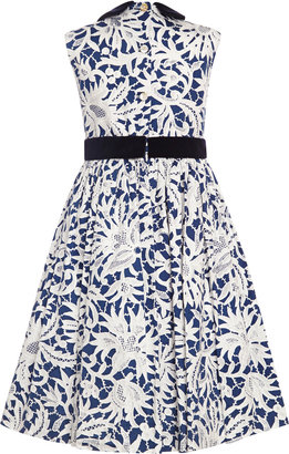 Oscar de la Renta Lace Print Cotton Party Dress