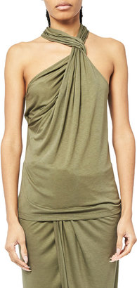 Helmut Lang Twisted Neck Long Jersey Halter Top