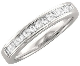Princess 3/5 CT T.W. and Baguette Channel Wedding Band 14K White Gold (G-H, SI1)