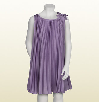 Gucci Lilac Silk Sleeveless Pleated Dress