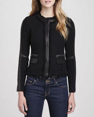 Rebecca Taylor Leather-Trim Tweed Blazer